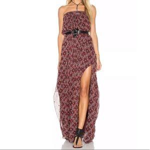 Cinq a Sept Dress Silk Embroidered Strapless Maxi